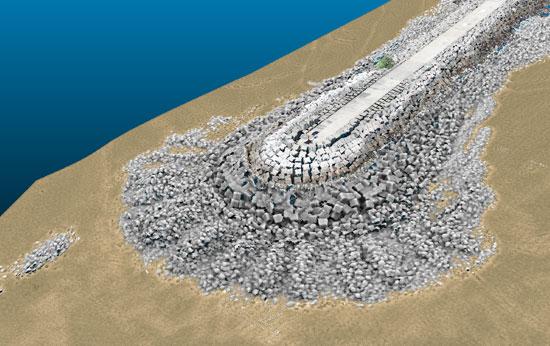 Combined data of breakwater East (aerial & bathymetry)